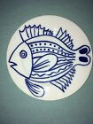 FITZ AND FLOYD In Glaze BLUE & WHITE LES FISH SALAD DESSERT PLATE 7.5