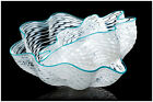 Dale CHIHULY Hand Blown Glass Pearl White Seaform Pair Signed Macchia Basket Art