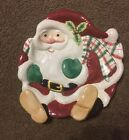 NIB Fitz & Floyd Classic Large Christmas Santa Serving Cookie Dish Platter Bowl