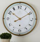 French Country Cottage Chic Antiqued Gold Frame Wall Clock Aged Ivory Blue 31D