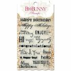 BoBunny Sentiments Clear Acrylic Stamp Set Words Phrases Ocassion Birthday Cards