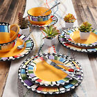 Gibson Home Fandango 16-Piece Dinnerware Set, Yellow,Microwave & Dishwasher Safe