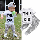 2PCS Baby Boys Kids T shirt Tops Pants Summer Outfits Set Clothes 0 5T US Stock