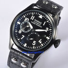 New 47mm Parnis Automatic Watch Men Power Reserve PVD Case Wristwatches