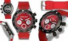 NEW Alexander Dubois 10074 Men's Alsace Series Red Chronograph Tachymeter Watch