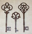 NEW~Set of 3 Large Ornate Cast Iron Rust Antique-Style Skeleton Keys Victorian