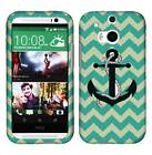 Green Anchor Chevron Tuff For HTC One M8 Cover Case Snap on Protector