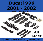 Complete Black Fairing Bolt Kit body screws for Ducati 996 2001 - 2002 Stainless