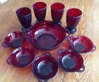 Anchor Hocking RUBY RED CORONATION Berry Bowl 6 Pc Set + 4 Footed Tumblers