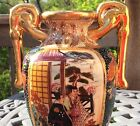 SATSUMA MARKED MORIAGE STYLE VASE w HANDLES  FOOT 75 ASIAN ART NR