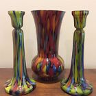 Cased Bohemian Czech Art Glass Vase  Candlesticks End of Day Blue Spatter Glass