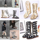 Girls Strappy Zipper Gladiator Summer Sandals Flat Ankle Boots Kids Beach Shoes