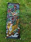 VINTAGE JAPANESE PAINTED TAPESTRY TIGER AND DRAGON GREAT GRAPHICS COLORS