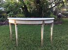 Antique Italian Carved Wood  Painted  Demilune   Console Table Marble Top
