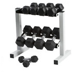 CAP 150 lb Rubber Hex Dumbbell Weight Set 5 25 lb with Rack FREE SHIP from USA