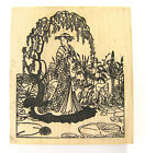 Rubber Stamp Geisha in Garden Lily Pond Wisteria Japanese Paper Parachute