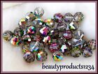 VINTAGE Lot of 6 SWAROVSKI CRYSTAL 8mm Rnd Beads VITRAIL GERMANY Year 1969