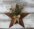 Barn Star Basket Pip Berries Burlap Rusty Tin Primitive Wall Decor 15 inch