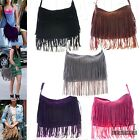 Womens Faux Leather Casual Trendy Large Suede Tassel Crossbody Fringe Bag Purse