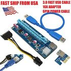 USB 30 PCI E Express 1x To 16x Extender Riser Card Adapter Power Cable BTC Lot