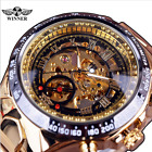 Winner Men Luxury Golden Skeleton Stainless Steel Automatic Mechanical Watches