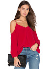 NWT JOIE Silk RUBY RED ECLIPSE Cold Shoulder BLOUSE TOP M 238
