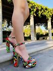Open Toe Platform Embroidered Ankle Strap High Heel Chunky Block Shoes Sandals
