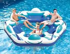 River Floats 6 Person Inflatable Party Tube Raft with Cup Holders