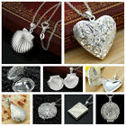 Women 925 Silver Plated Locket Hollow Heart Book Photo Pendant Chain Necklace