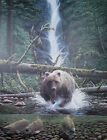 Terry Pyles, FISHIN, S/N Print, Grizzly or Brown Bear, King Salmon
