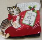 Fitz and Floyd Essentials Claus & Paws Canape Plate 8 1/4