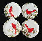 Fitz & Floyd CHRISTMAS HOLLY CARDINAL Salad Plate Set (Scenes 1-4) MINT COND.