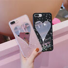 Mirror Love Heart Glitter Bling Powder Soft Phone Case For iPhone 6 6s 7 Plus