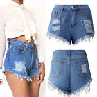 Women Vintage Ripped Hole High Waisted Stonewash Denim Jeans Shorts Hot Pants