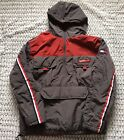 VTG Tommy Jeans 1 2 Zip Fleece Lined Pullover Hooded Jacket Size XL Red Grey