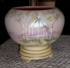FENTON ART GLASS 2009 BURMESE ROSE BOWL AND STAND