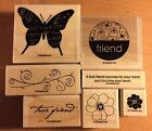 Stampin Up SIMPLE FRIENDSHIP Butterfly Flowers Floral Phrase Retired