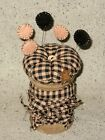 Old Wood Spool~Black/Tan Homespun Pin Cushion Make Do Penny Rug Pins Rusty Star