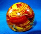 Glass Paperweight Small 25 12 oz Brown  Yellow Controlled Bubbles PW 09
