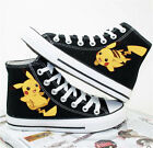 Anime Unisex Canvas Black Shoes Hand Printed Pokemon Pocket Pikachu Casual Boots