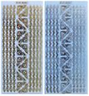 Embossed FEATHER BORDERS  CORNERS Peel Off Stickers Gold or Silver on Clear