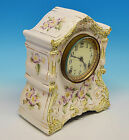 1882 Ansonia Mantel Accomac Porcelain Clock Estate Item Runs Chimes w Key NICE