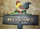 Cast Iron ROOSTER WELCOME Sign Garden Stake Home Decor CHICKEN Plaque HEN Farm