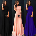 US Womens Long Chiffon 3 4 Sleeve Evening Formal Party Prom Ball Gown Maxi Dress