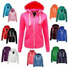 US Ladies Plain Hoody Girls Zip Top Women Hoodies Sweatshirt Jacket Hooded Tops