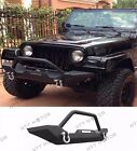 For 87 06 Jeep Wrangler TJ YJ Rock Crawler Guard Front Bumper Winch D Ring Text