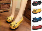 Ethnic Ladies Floral Leather Loafers Flats Womens Shoes Gift for Mother Flower