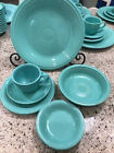 CONTEMPORARY FIESTA gently used 5 pc PLACE SETTINGS in Sea Mist Green