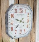 Octagon French Country Cottage Paris Galvanized Wall Clock Oversized 25