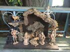 Handmade Christmas Nativity with Fontanini pieces Natural bark beautiful